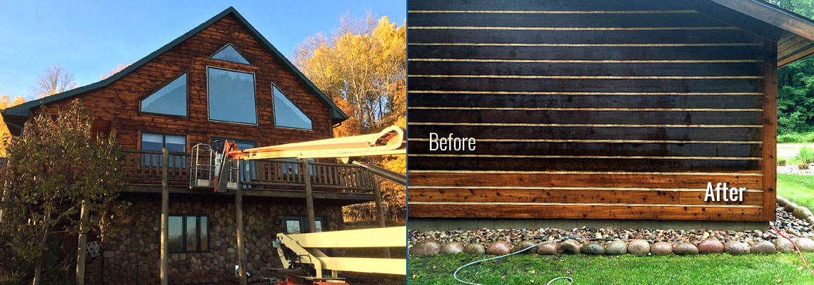 Fox Valley WI Log Home Wood Restoration